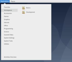 Capture d'écran du menu Applications